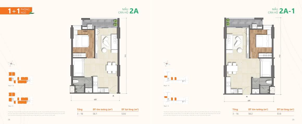 Thiết kế dự án căn hộ Ricca Quận 9 loại căn 1 phòng ngủ
