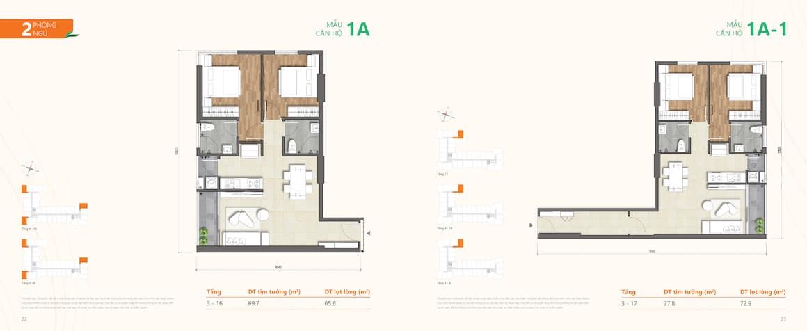 Thiết kế dự án căn hộ Ricca Quận 9 loại căn 2 phòng ngủ