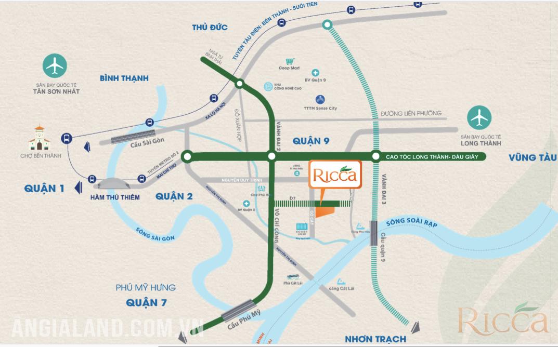 Vị trí địa chỉ dự án căn hộ Ricca Quận 9