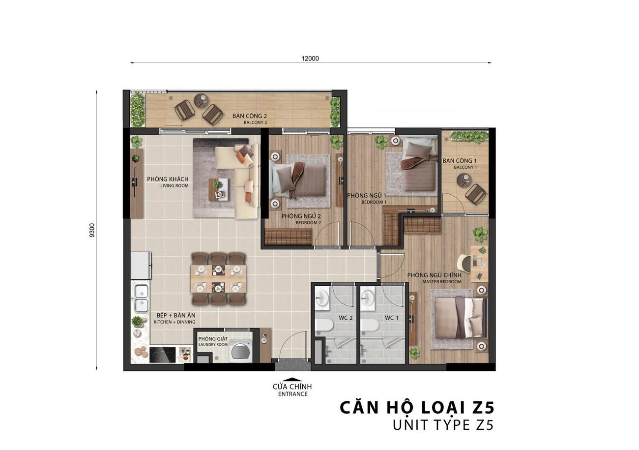 Thiết kế căn hộ 2 phòng ngủ của dự án Sora Gardens II