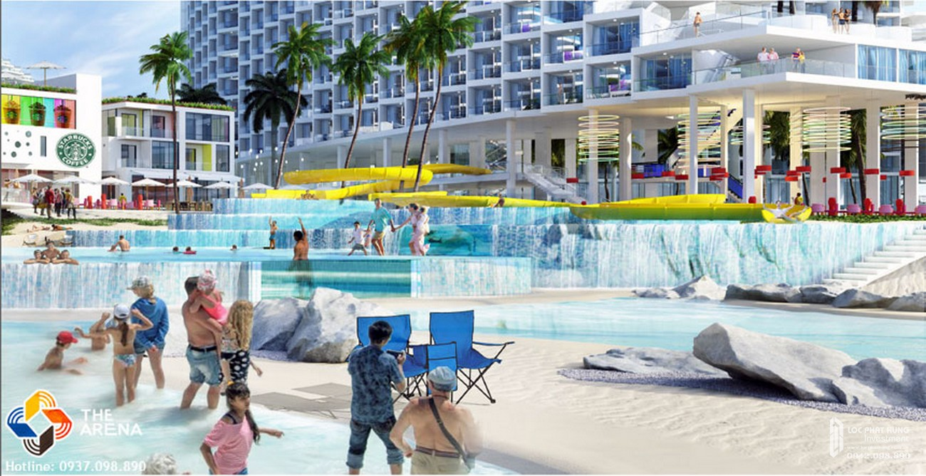 Bể bơi ba tầng dự án condotel Arena Cam Ranh