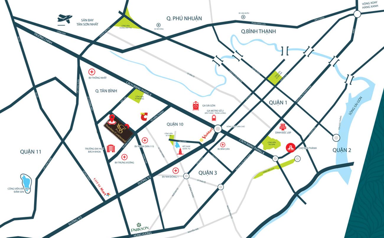 Bảng đồ vị trí dự án Sunshien quận 10
