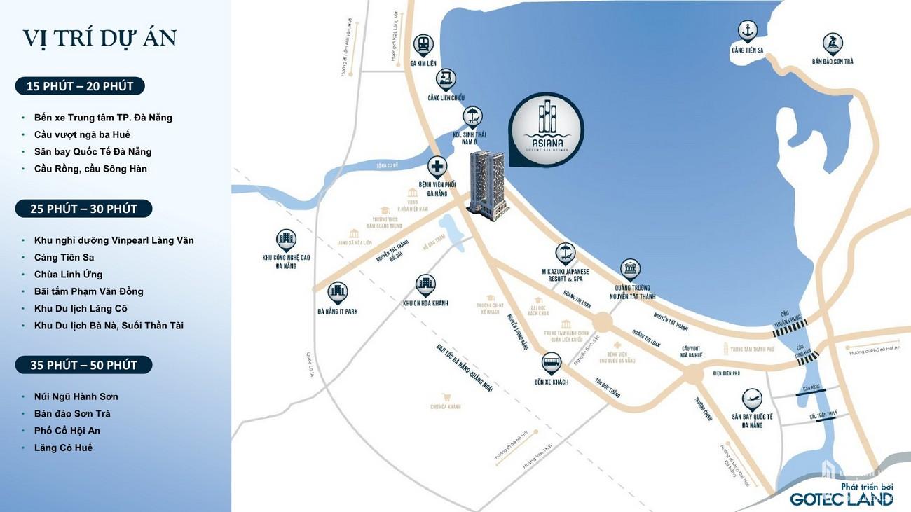 Vị trí chính xác dự án Asiana Đà Nẵng nhà phát triển Gotec Land