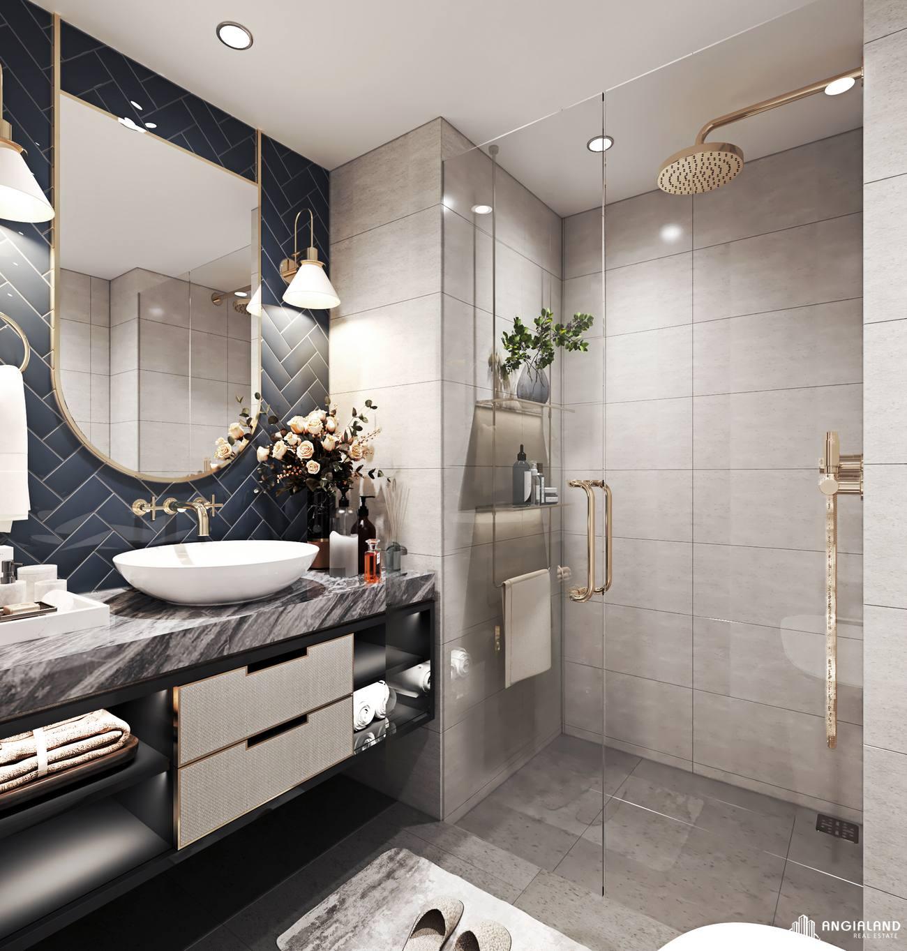Thiết kế vệ sinh nhà mẫu căn hộ 1 phòng ngủ Asiana Đà Nẵng