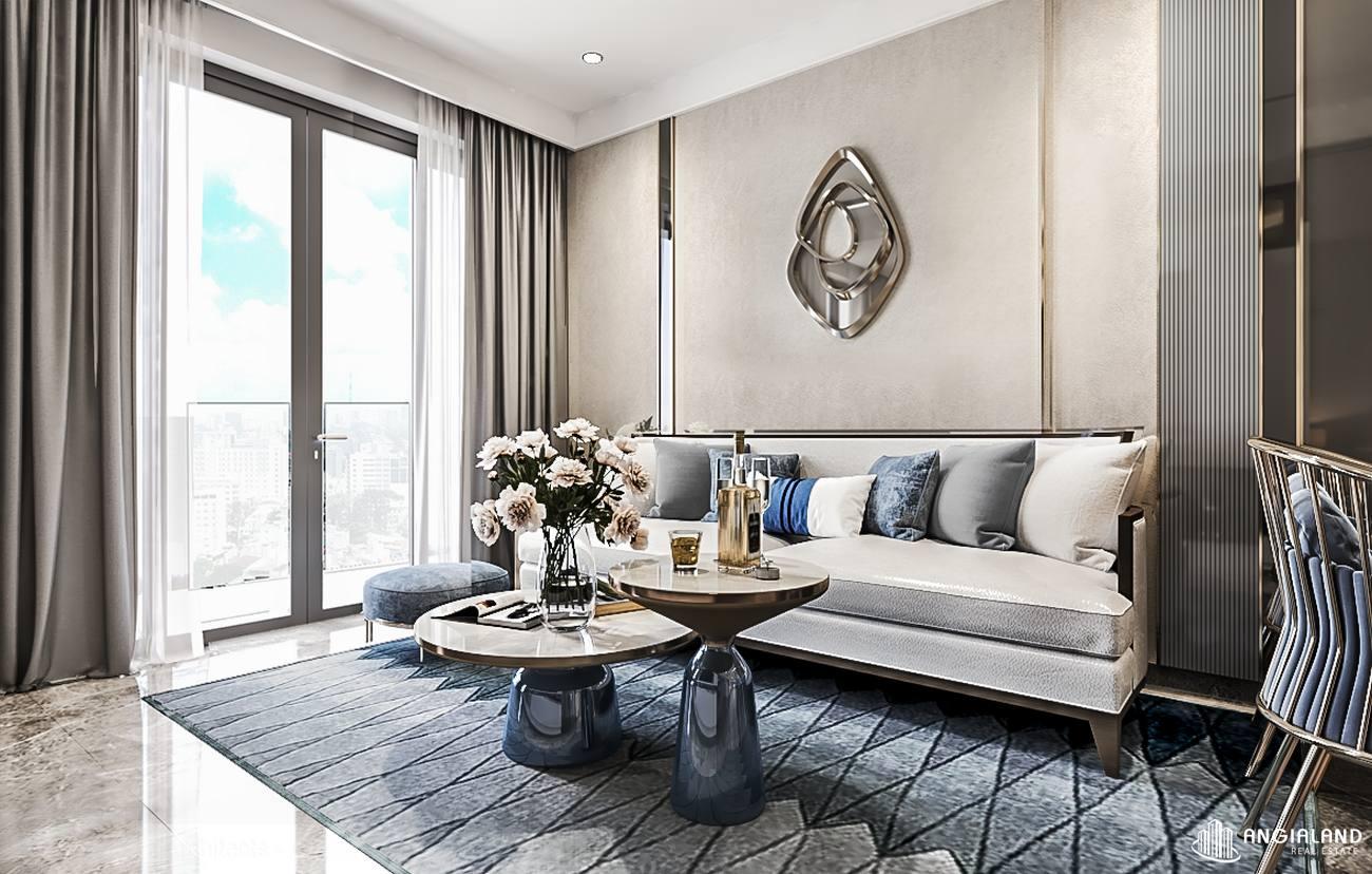 Thiết kế phòng khách nhà mẫu căn hộ 1 phòng ngủ Asiana Đà Nẵng