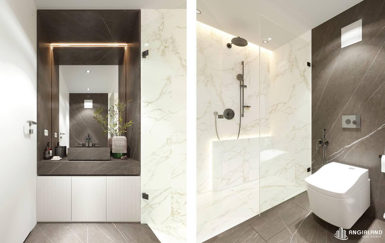 Thiết kế toilet phòng ngủ 1 nhà mẫu 3 phòng ngủ Asiana Đà Nẵng