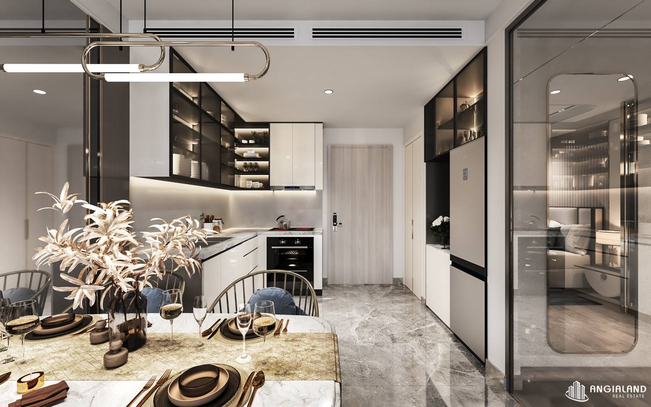 Thiết kếp bếp nhà mẫu căn hộ 1 phòng ngủ Asiana Đà Nẵng