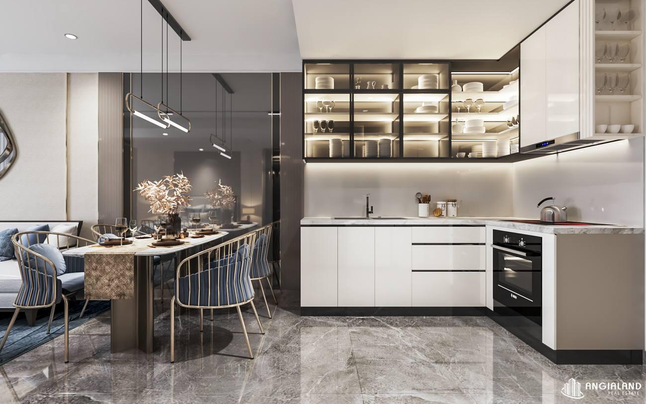 Thiết kế bếp nhà mẫu căn hộ 1 phòng ngủ Asiana Đà Nẵng