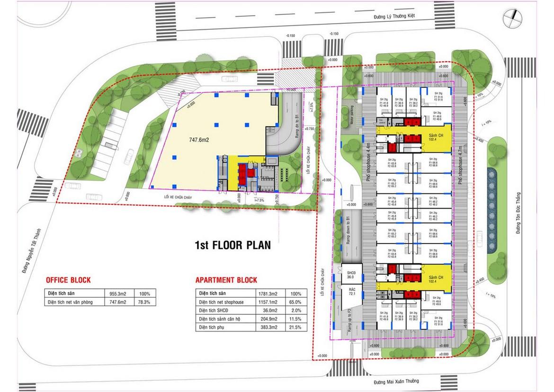 Mặt bằng tầng 1 dự án căn hộ condotel chung cư Grand Center Quy Nhơn Đường Nguyễn Tất Thành