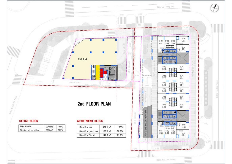 Mặt bằng tầng 2 dự án căn hộ condotel chung cư Grand Center Quy Nhơn Đường Nguyễn Tất Thành