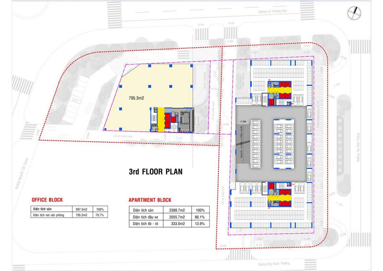 Mặt bằng tầng 3 dự án căn hộ condotel chung cư Grand Center Quy Nhơn Đường Nguyễn Tất Thành