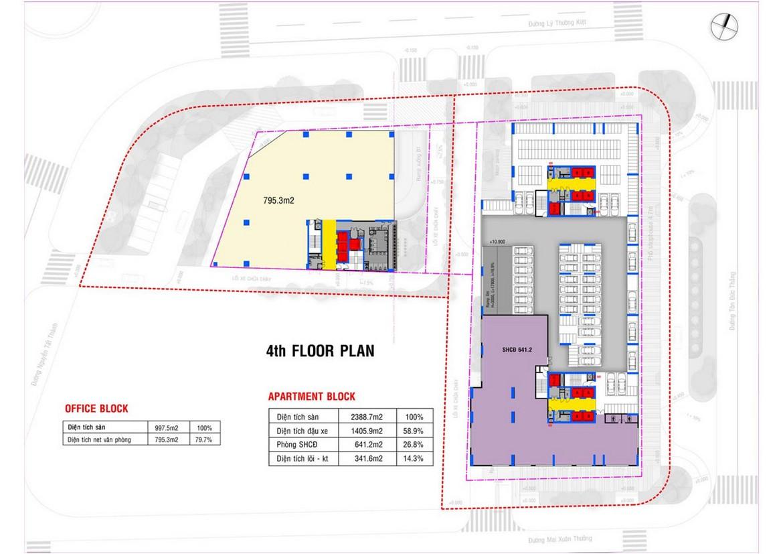 Mặt bằng tầng 4 dự án căn hộ condotel chung cư Grand Center Quy Nhơn Đường Nguyễn Tất Thành
