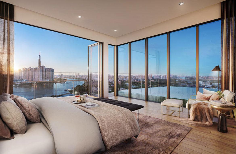 Phối cảnh phòng ngủ với view rộng của dự án căn hộ The River Quận 2