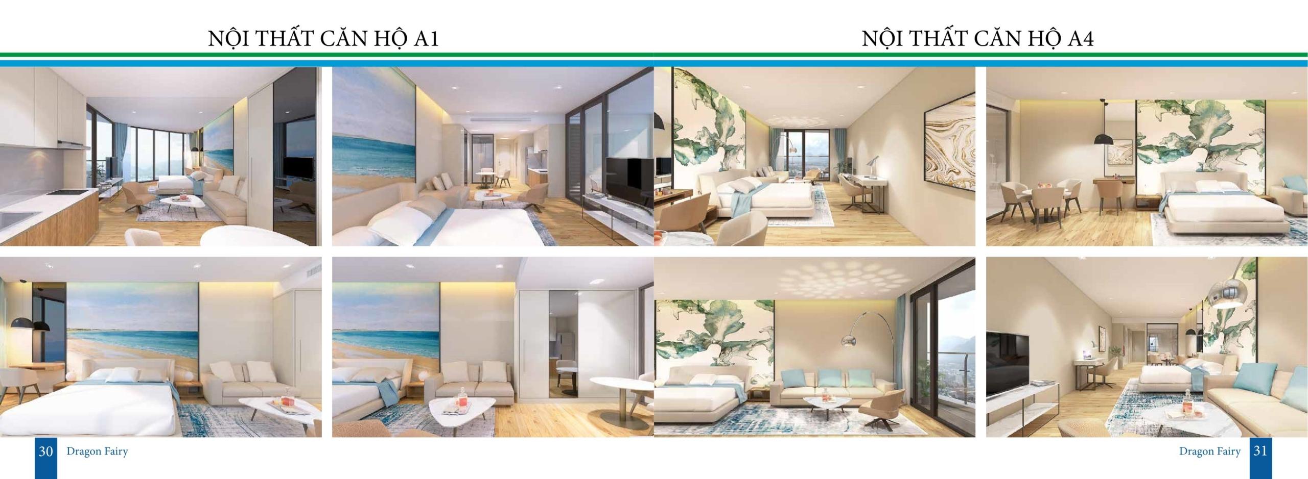 Nội thất căn hộ condotel dự án Dragon Fairy Nha Trang