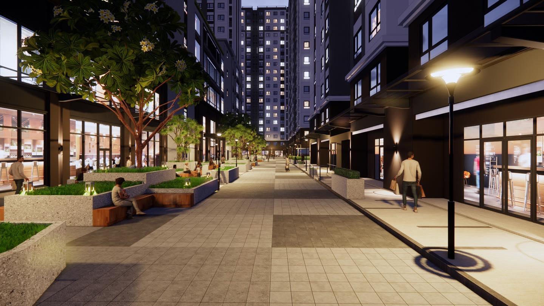 Lối đi dạo bộ tại trung tâm thương mại 4 tầng căn hộ chung cư Green River Phạm Thế Hiển Quận 8