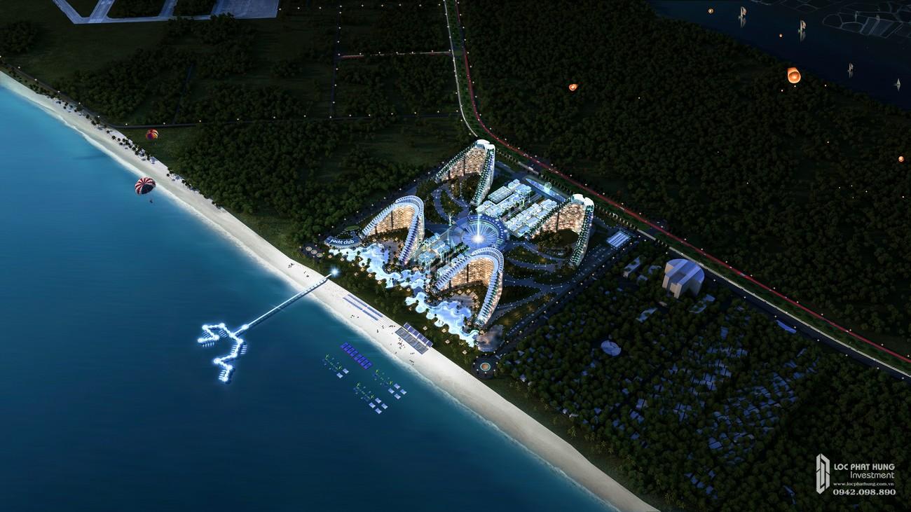 Phối cảnh tổng thể dự án condotel Arena Cam Ranh ban đêm từ xa