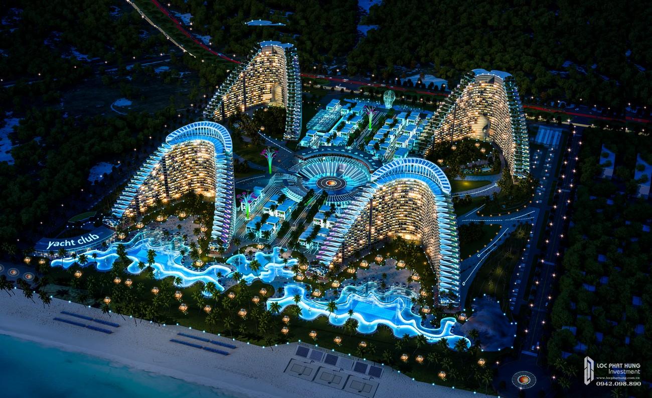 Phối cảnh tổng thể dự án condotel Arena Cam Ranh ban đêm