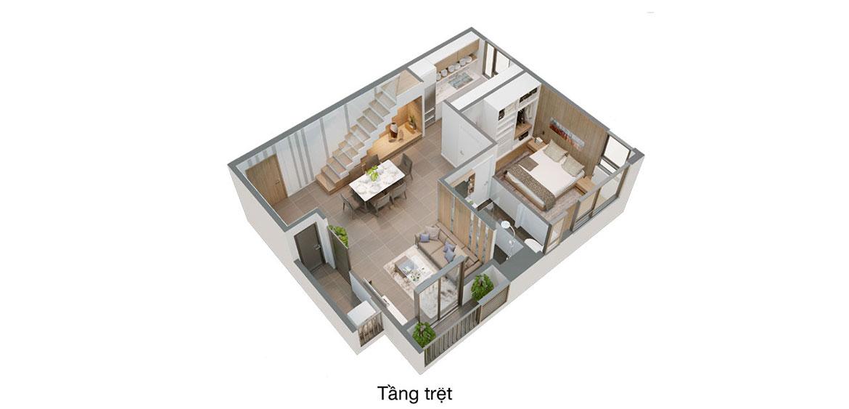 Thiết kế điển hình các căn Duplex tại Pegasuite II