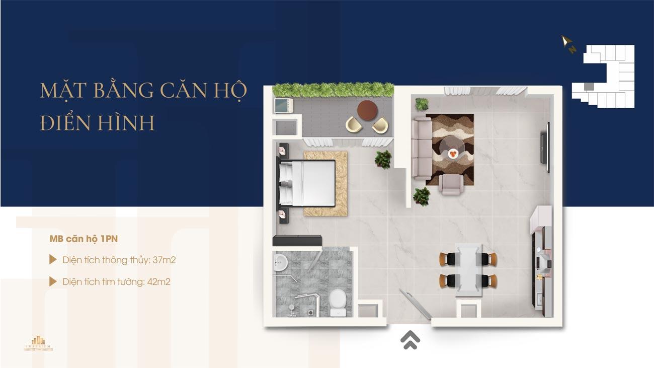 Thiết kế chi tiết loại 1 phòng ngủ căn hộ Imperium Nha Trang