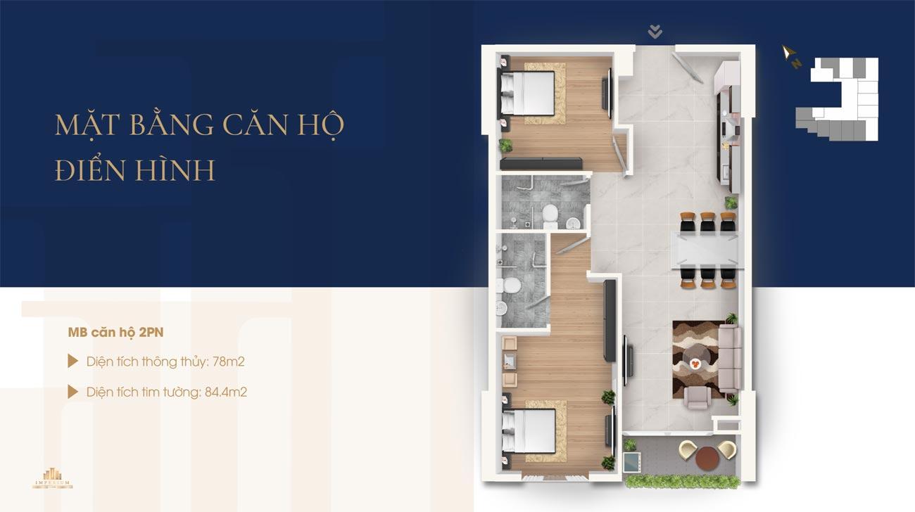 Thiết kế chi tiết loại 2 phòng ngủ căn hộ Imperium Nha Trang
