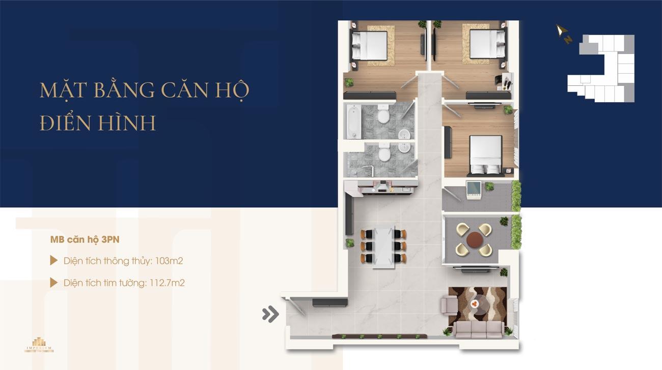 Thiết kế chi tiết loại 3 phòng ngủ căn hộ Imperium Nha Trang