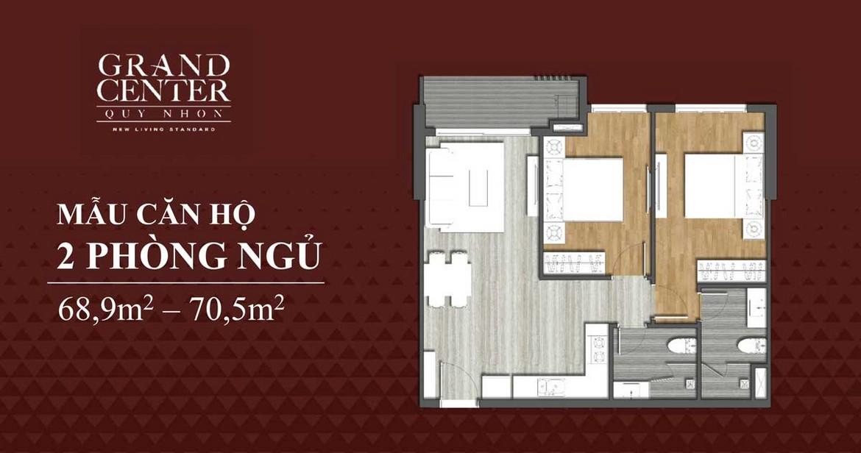 Thiết kế chi tiết căn hộ 2 phòng ngủ dự án Grand Center Quy Nhơn