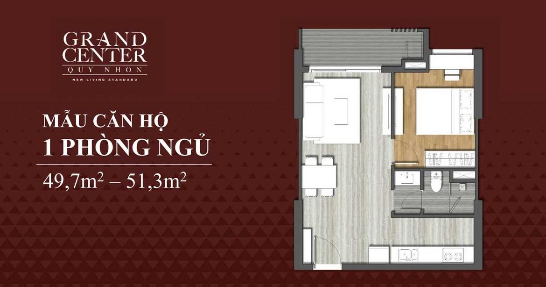 Thiết kế chi tiết căn hộ 1 phòng ngủ dự án Grand Center Quy Nhơn