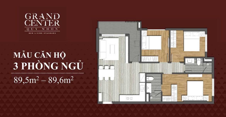 Thiết kế chi tiết căn hộ 3 phòng ngủ dự án Grand Center Quy Nhơn