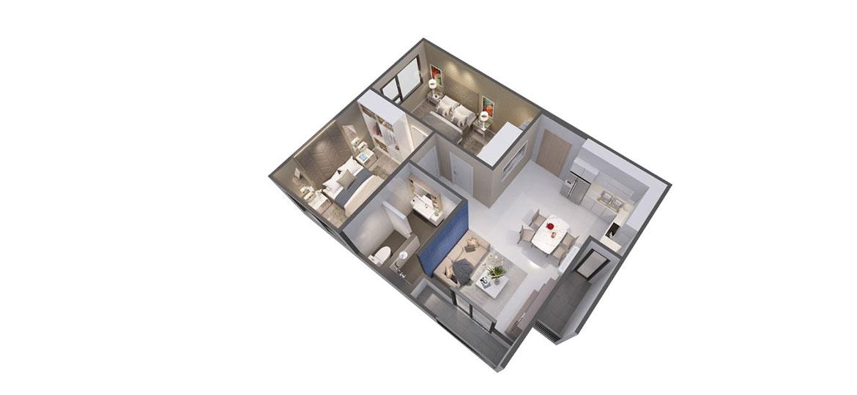 Thiết kế điển hình các căn hộ đơn tại Pegasuite II