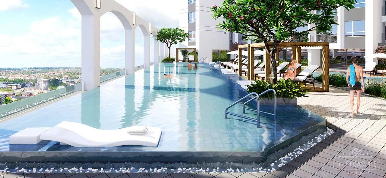 Phong cách thiết kế hồ bơi Hy Lạp ngay tại tầng giữa dự án