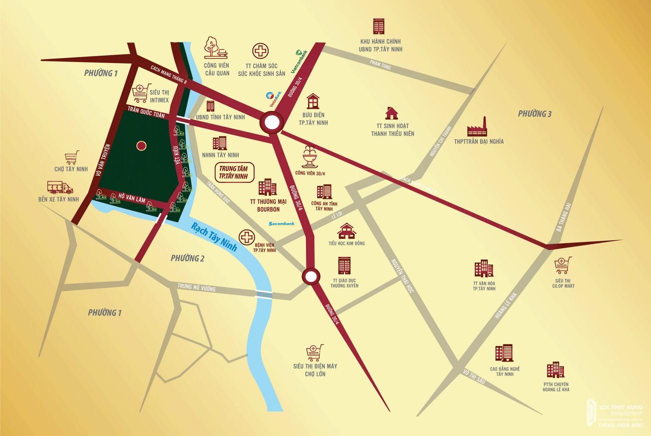 Vị trí chính xác căn hộ nhà ở xã hội Golden City Tây Ninh