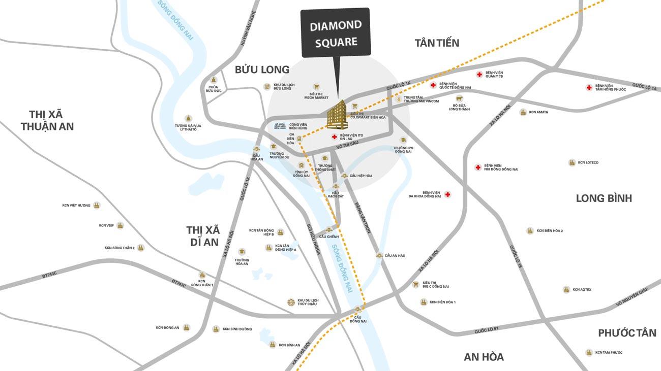 Vị trí địa chỉ Diamond Squarer Biên Hòa