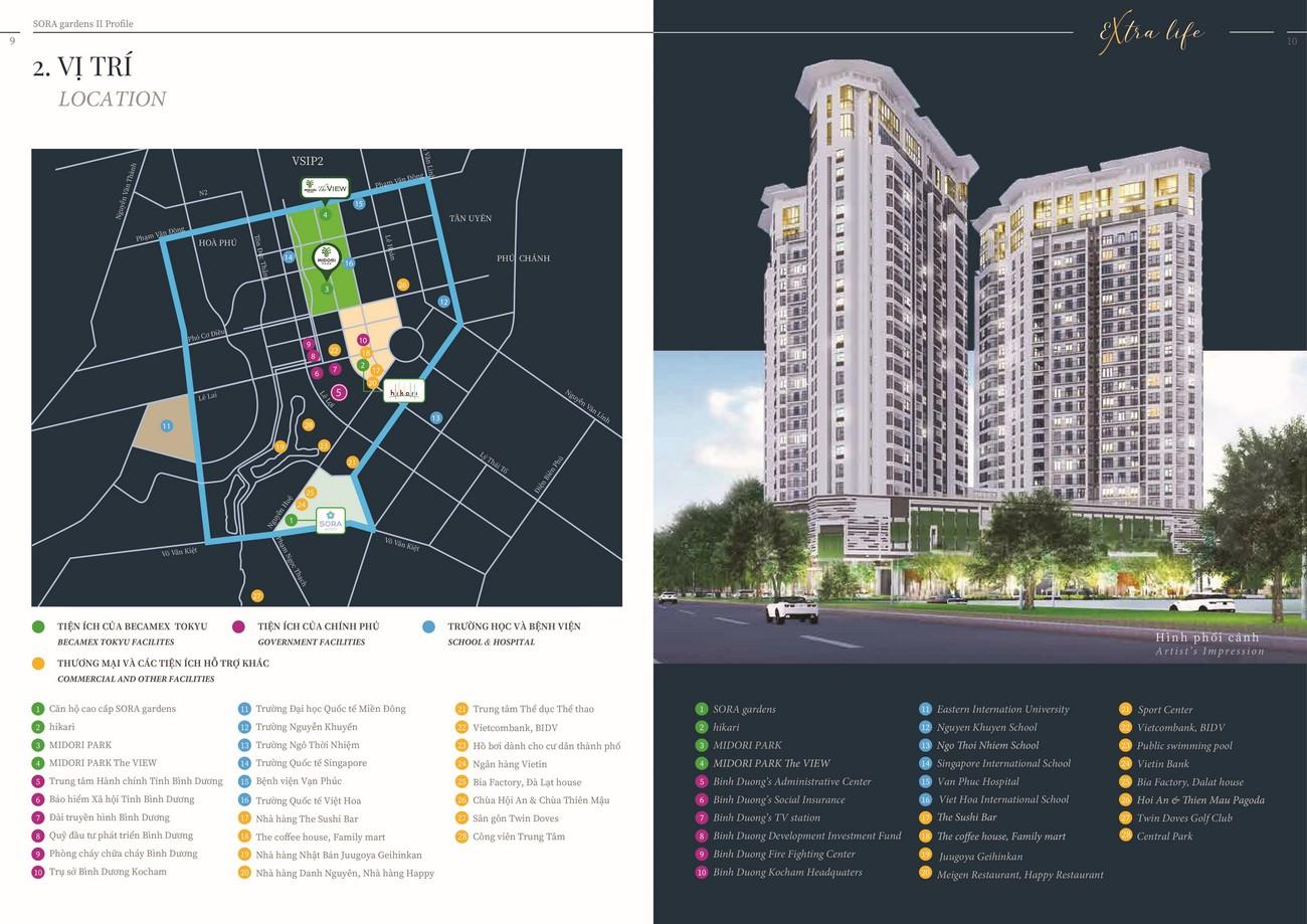 Vị trí địa chỉ dự án căn hộ chung cư Sora Gardens II Thủ Dầu Một Đường Hùng Vương chủ đầu tư BTMJR Investment
