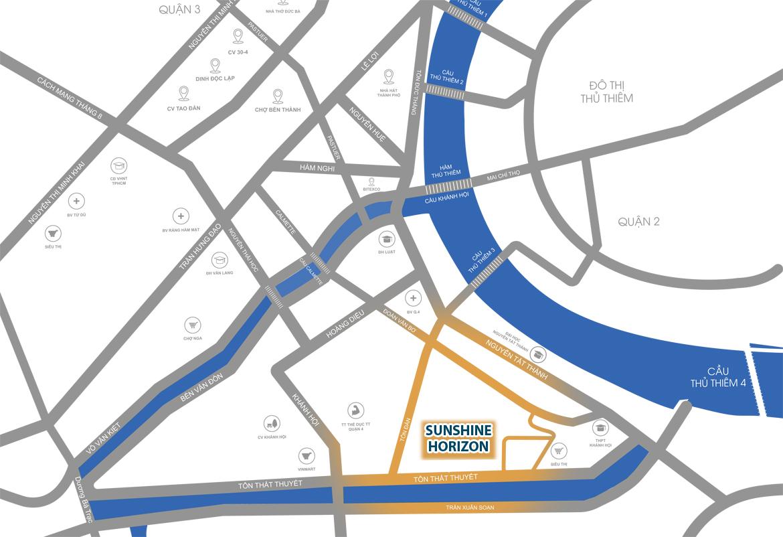 Vị trí địa chỉ dự án căn hộ Sunshine Horizon Quận 4
