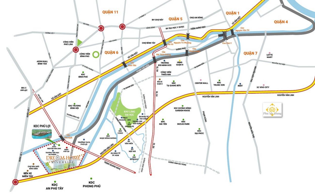Vị trí địa chỉ dự án căn hộ chung cư Dream Home Riverside Quận 8 Đường Nguyễn Văn Linh chủ đầu tư Công ty TNHH Lý Khương
