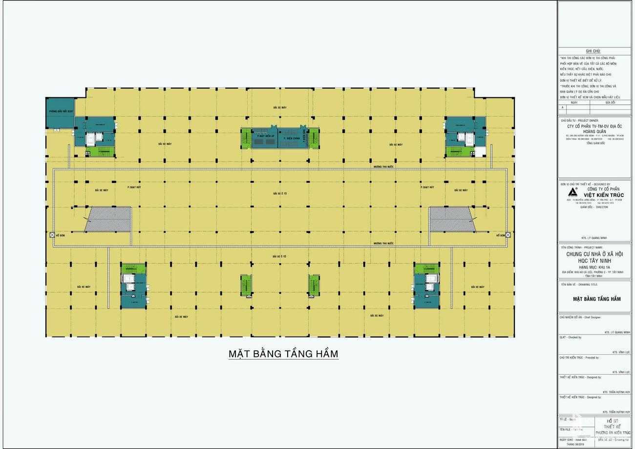 Mặt bằng tầng hầm bãi đỗ xe căn hộ nhà ở xã hội Golden City Tây Ninh chủ đầu tư INDOCHINA