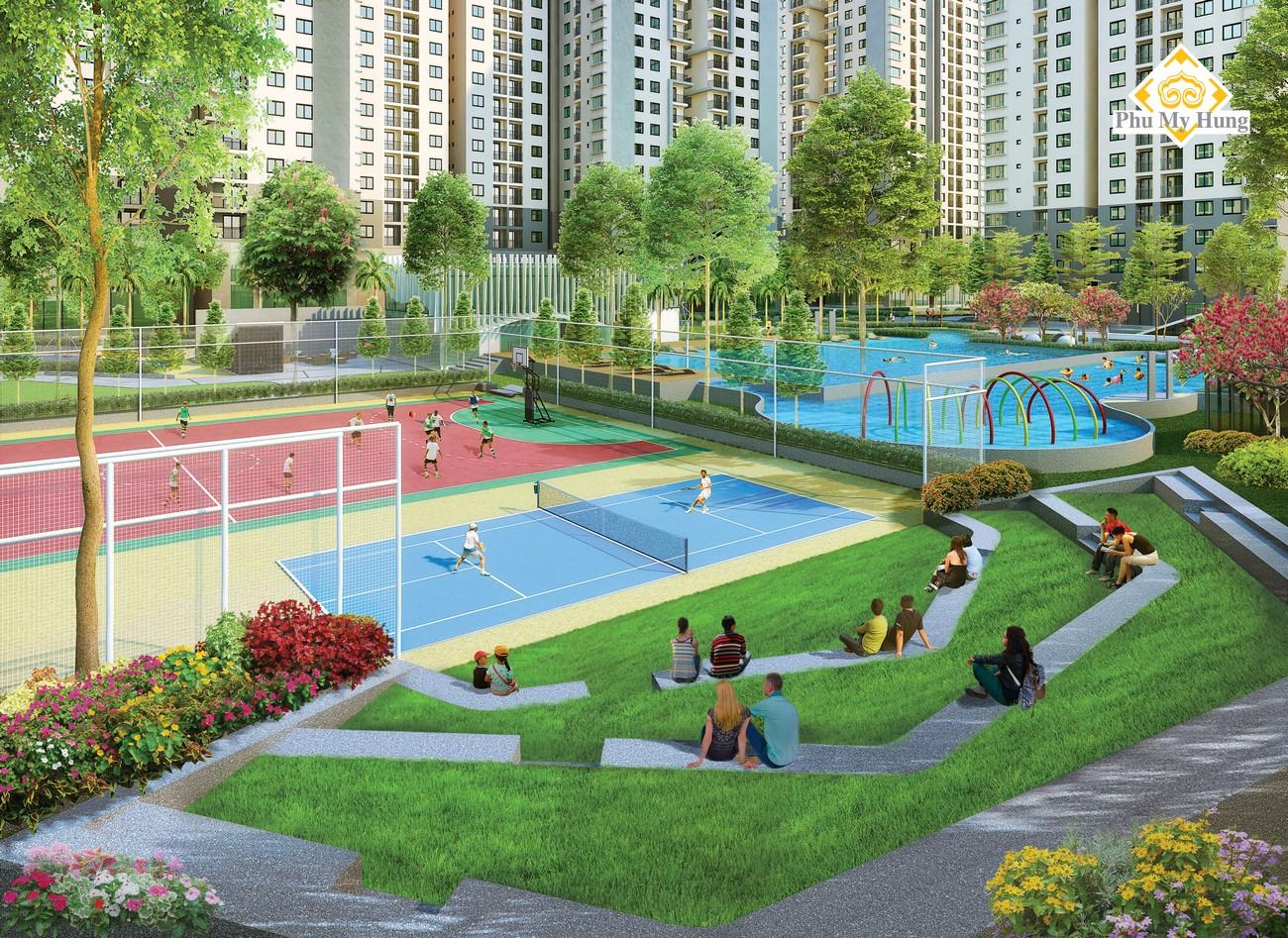 Sân thể thao đa năng hiện đại phục vụ nhu cầu rèn luyện sức khỏe, giải trí cho cư dân