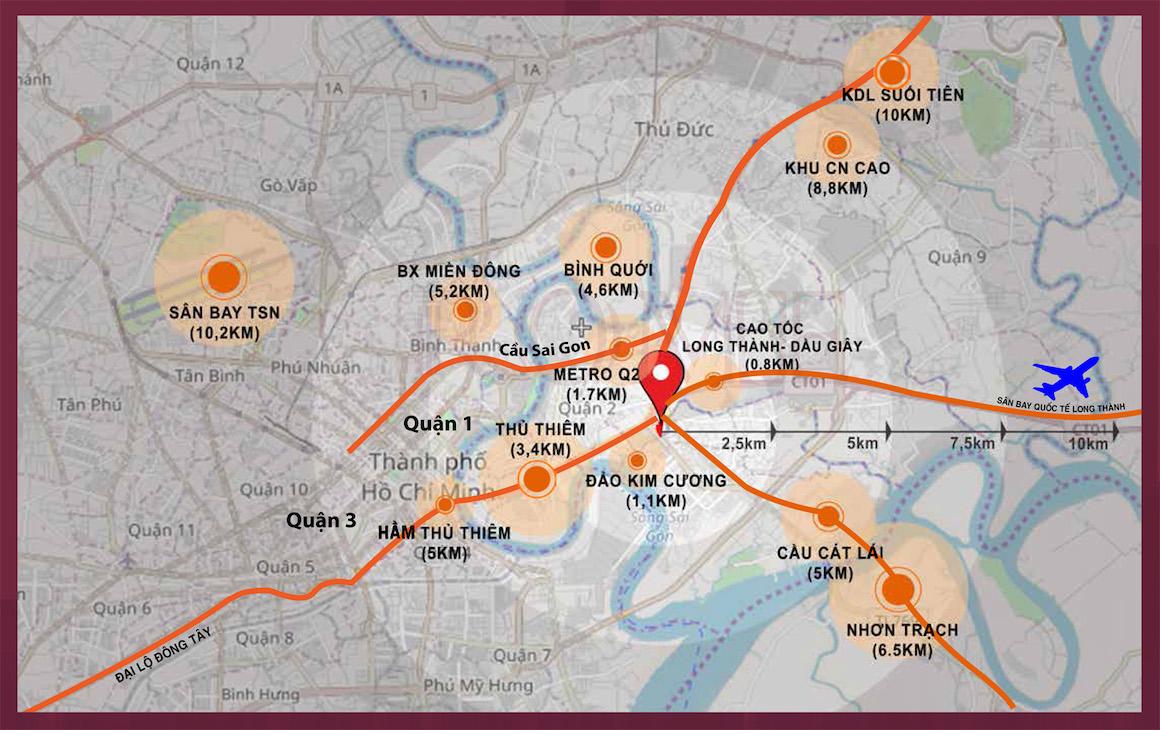 Dự án căn hộ D'Lusso Quận 2 Liên kết vùng