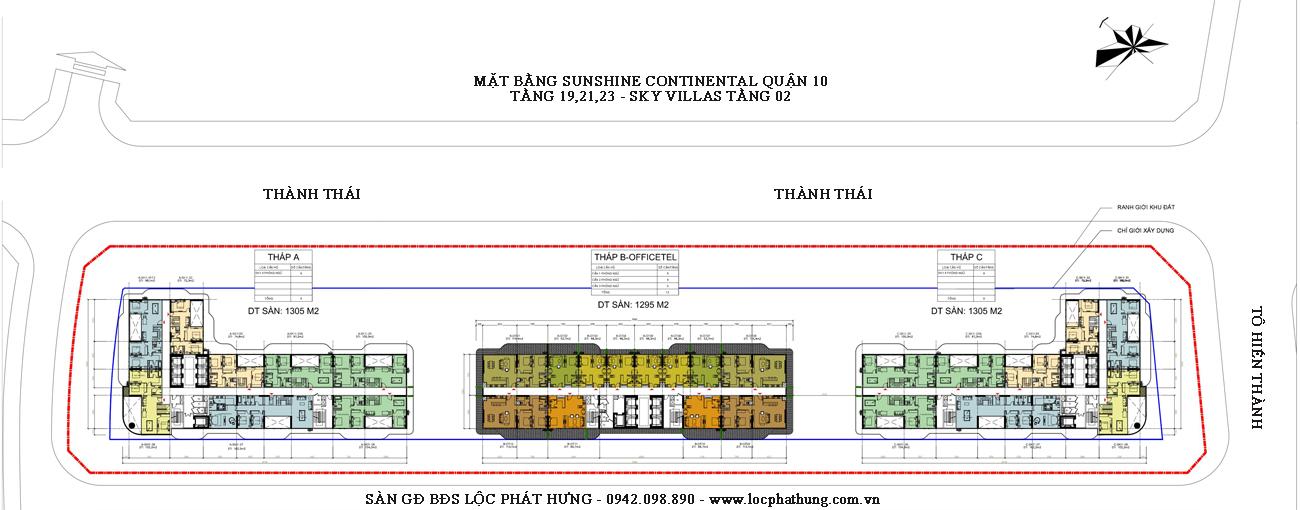 Mặt bằng tầng 19,21,23 sky villas dự án căn hộ Sunshine Continental Quận 10