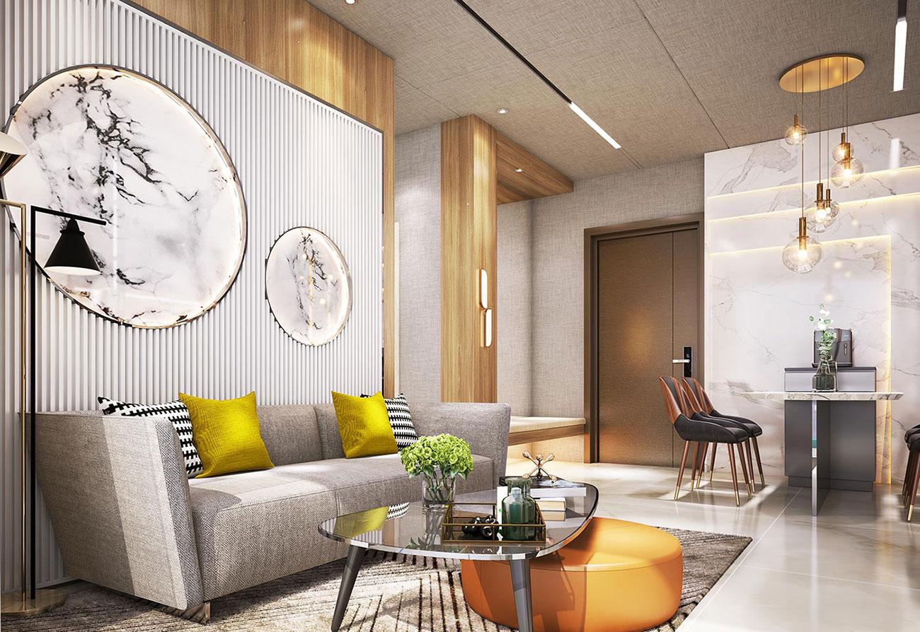 Phòng khách dự án căn hộ Babylon Garden Đào Trí