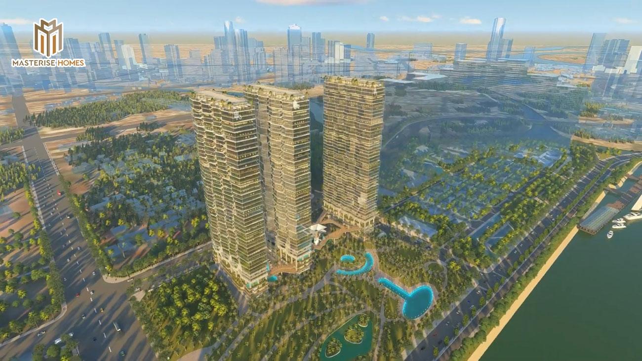 Phối cảnh tổng thể dự án căn hộ chung cư Masterise Homes Ba Son Quận 1 Đường Nguyễn Hữu Cảnh chủ đầu tư Thảo Điền Investment
