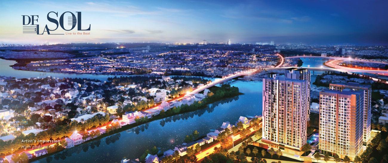 Phối cảnh tổng thể dự án căn hộ cao cấp de la sol quận 4 capitaland