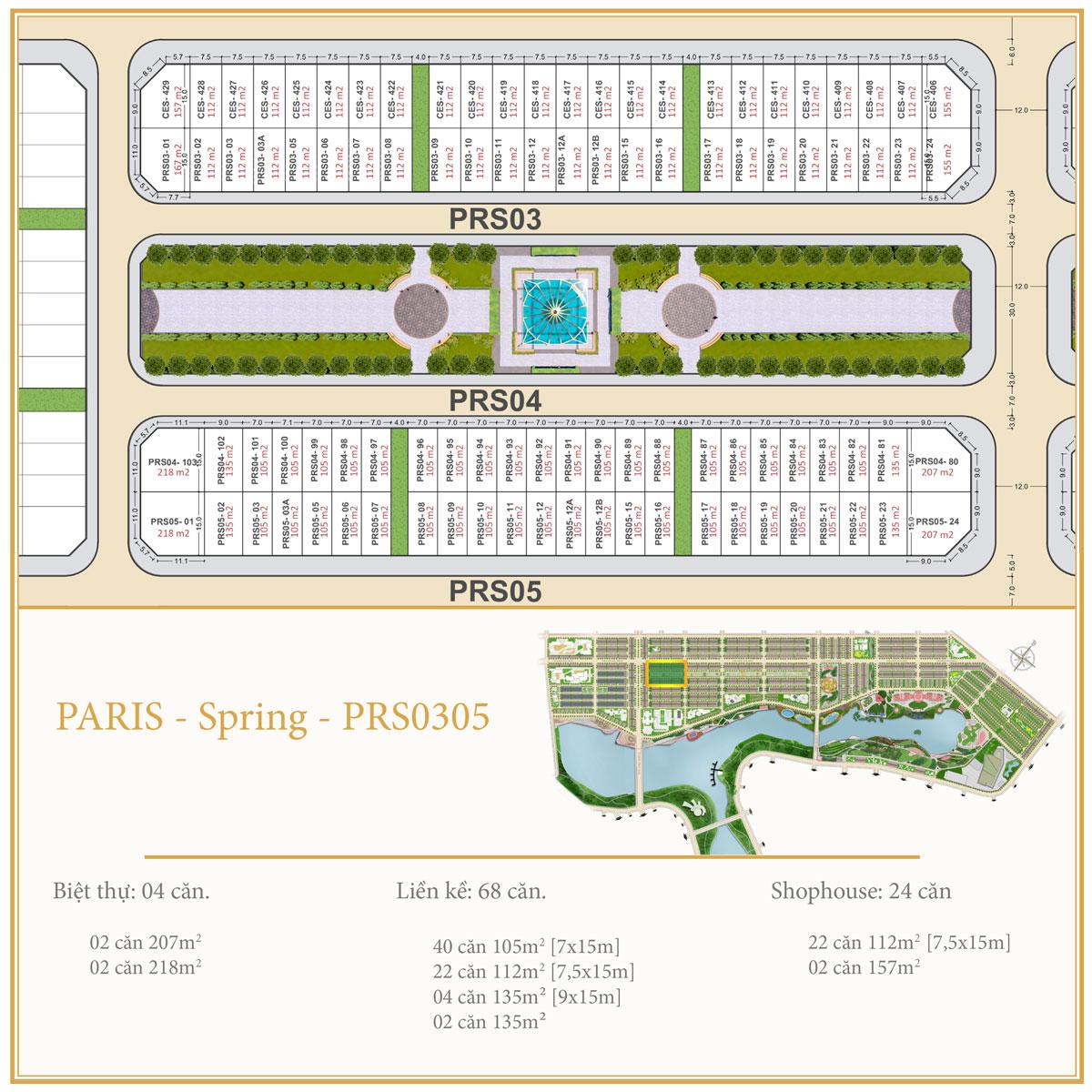 Dự án Royal Star Lake Mặt bằng PARIS SPRING PRS0305