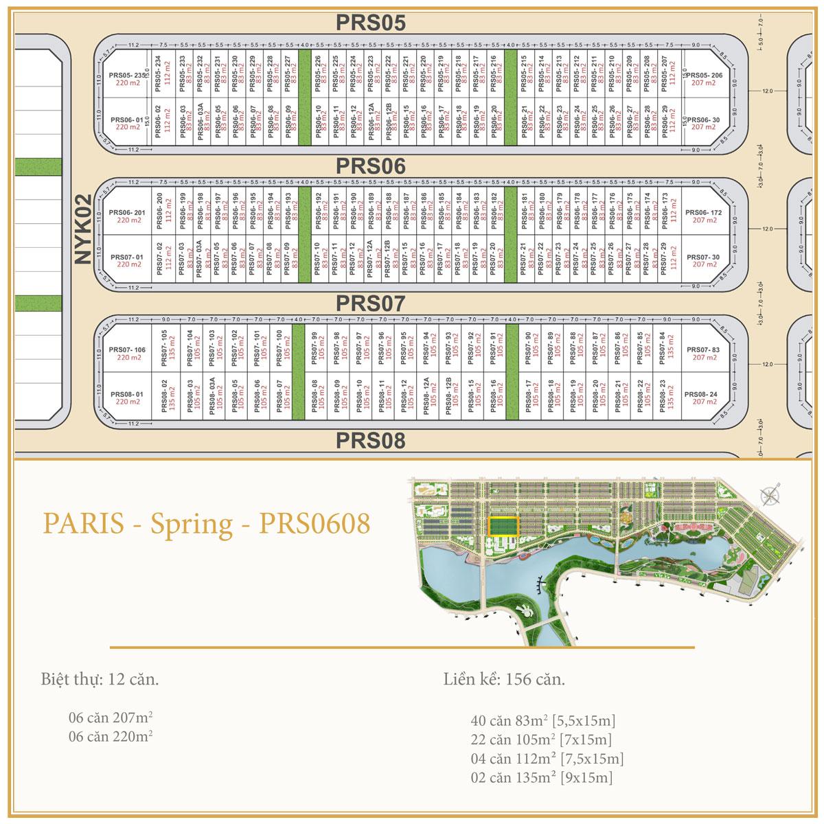 Dự án Royal Star Lake Mặt bằng PARIS SPRING PRS0608