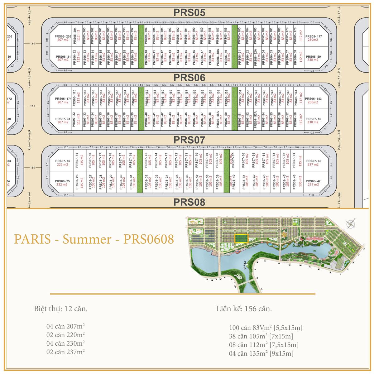 Dự án Royal Star Lake Mặt bằng PARIS SUMMER PRS0608