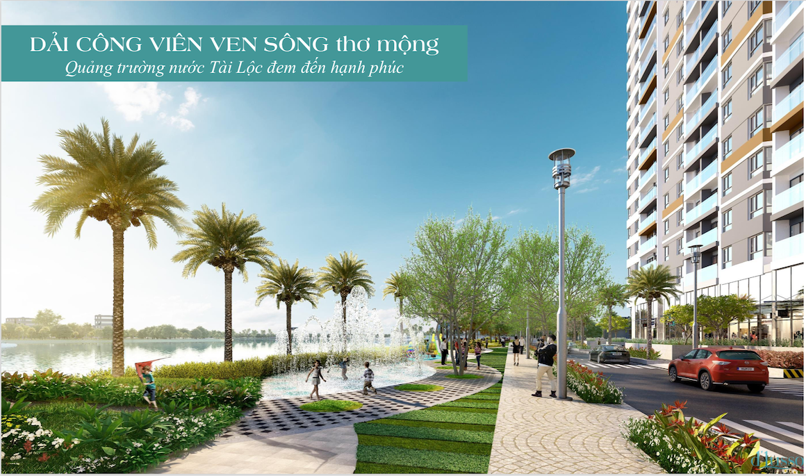 Công viên xanh liền kề sông Giồng Ông Tố hơn 1000m2 tại dự án