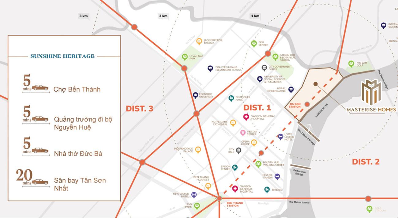 Vị trí địa chỉ dự án căn hộ chung cư Masterise Homes Ba Son Quận 1 Đường Nguyễn Hữu Cảnh chủ đầu tư Thảo Điền Investment