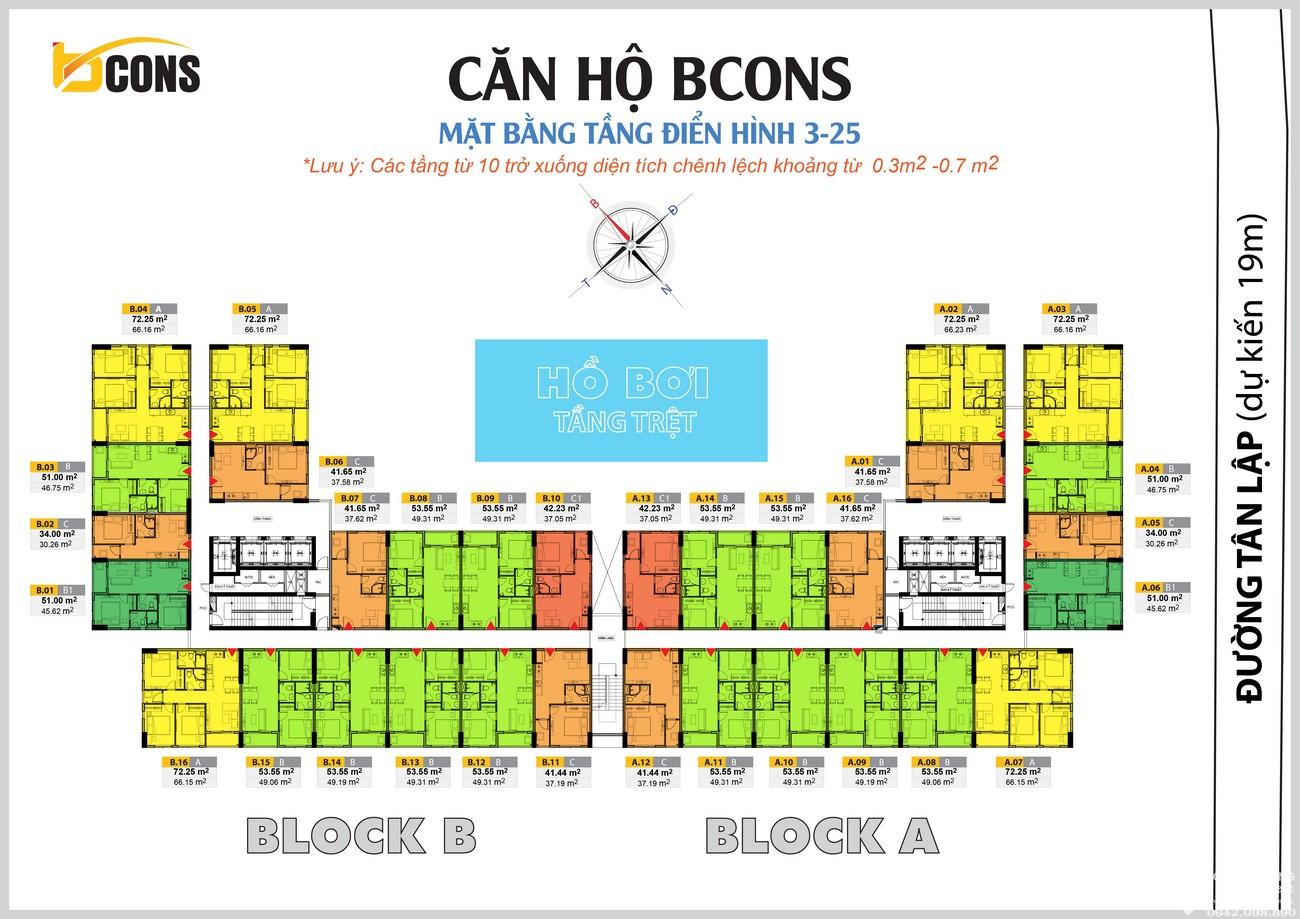 Mặt bằng dự án Căn Hộ chung cư Bcons Miền Đông Dĩ An Đường Tân Lập chủ đầu tư Bcons