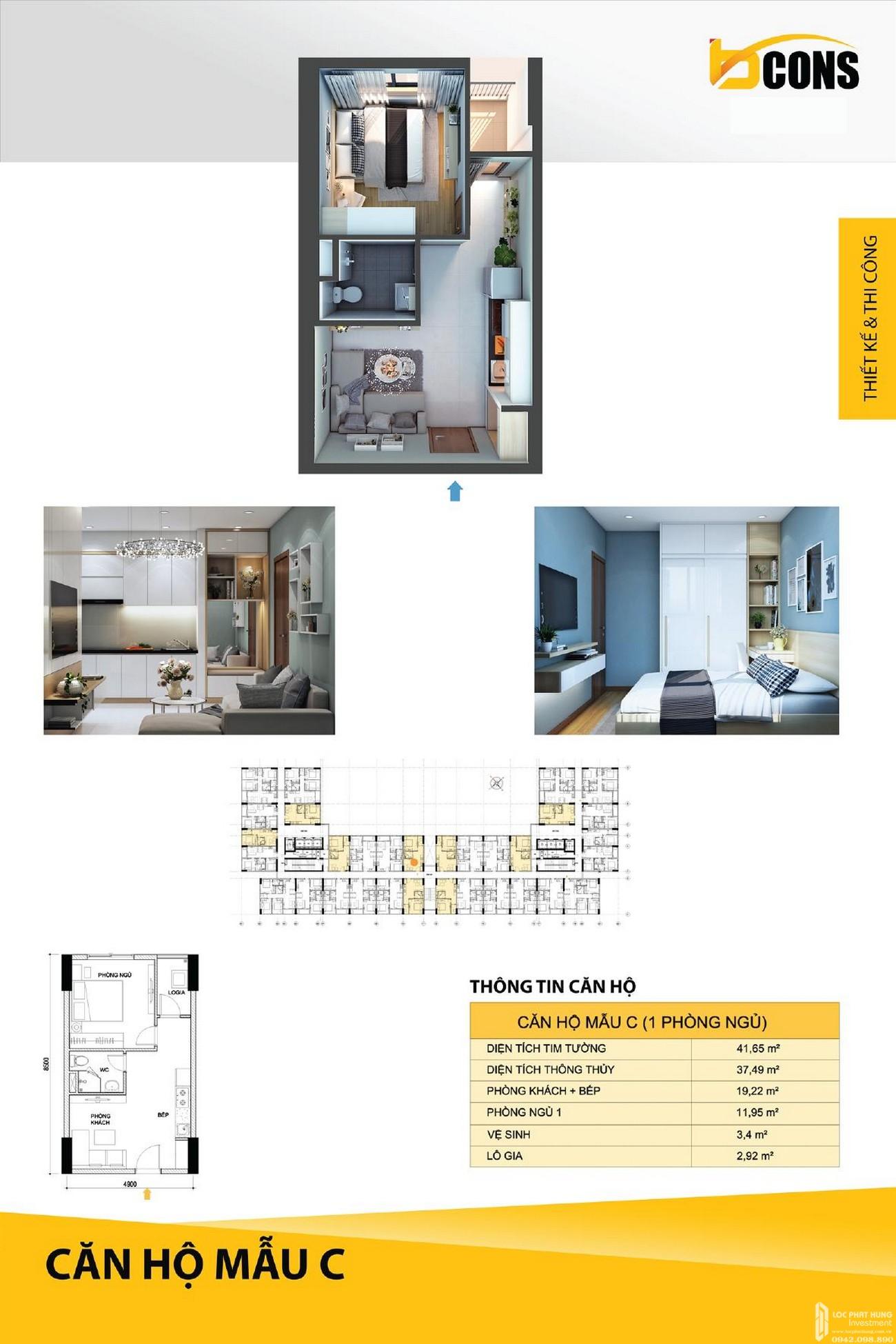 Thiết kế dự án Căn Hộ chung cư Bcons Miền Đông loại C Dĩ An Đường Tân Lập chủ đầu tư Bcons