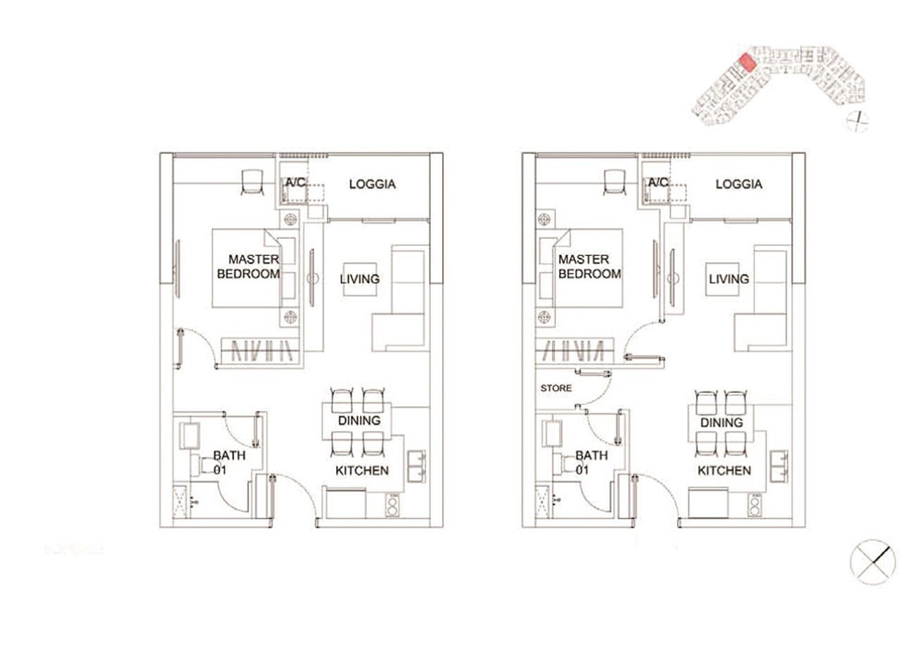 Thiết kế chi tiết căn hộ 1 phòng ngủ tại Charmington Dragonic